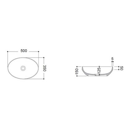 AXA DECUS LAVABO OVALNI 50x35 cm BELI MAT 8510012