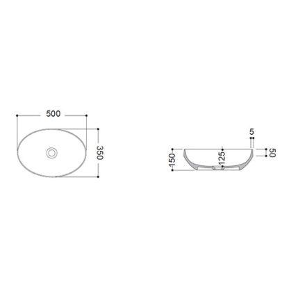 AXA DECUS LAVABO OVALNI 50x35 cm CRNI 8510007