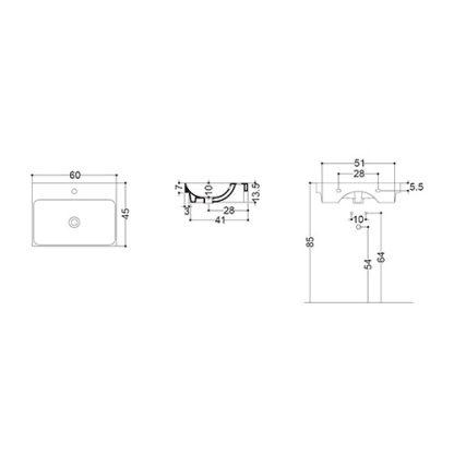 AXA NORMAL LAVABO 60x45 cm WS11101F