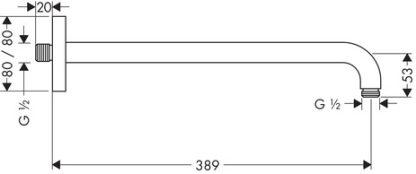HANSGROHE IZLIV TUŠ RUŽE E 389mm 27446000