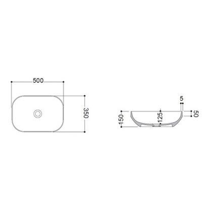 AXA DECUS LAVABO PRAVOUGAONI 50x35 cm CRNI 8520007
